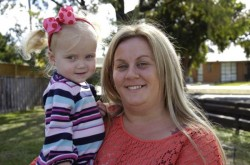 Sally Mylonas is calling on donations from the community to help them buy a potentially lifesaving vest for her daughter Sophy, who suffers from Cystic Fibrosis. 98671 Picture: MEAGAN ROGERS