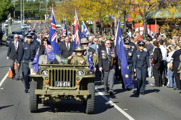 The Anzac Day march down High Street, Cranbourne. Picture: ROB CAREW