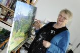 Berwick Arts Society member and exhibitor Helen Anderson in her studio. 161718 Picture: STEWART CHAMBERS