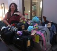 Sally Ritter-Whelan with some much-needed backpacks ready to be picked up.