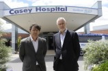 Government ministers Luke Donnellan and Gavin Jennings outside Casey Hospital - which will receive a $106 million upgrade. Picture: STEWART CHAMBERS