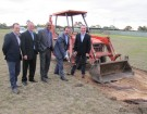 Horse trainer Robbie Griffiths, chairman of Cranbourne Turf Club  Geoff Whiffin, Minister for Racing Martin Pakula, State Member for Cranbourne Jude Perera, and horse trainer Greg Eurell officially start works on the exciting project. 141344 Picture: BRIDGET COOK