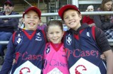 Casey Scorpions supporters Brayden, Kelsey and Ryan showed their support for the Scorpions' Pink Ribbon Game. 65943 Picture: STEWART CHAMBERS