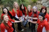 Zoe Canning, Jaymie Simkin, Kellie Fellon, Hayley Thompson, Alesia Kelly, Lainey Scott, Amber Gillatt and Mark Paxton are looking forward to providing fresh drinking water to families in Thailand and Laos. 140594 Picture:STEWART CHAMBERS