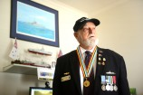 John Laughton with his new medal proudly hanging around his neck. 147598 Pictures: ROB CAREW