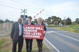 Cranbourne MP Jude Perera with State Roads Minister Luke Donnellan and Health Minister Jill Hennessy at the Thompsons Road level crossing in September last year. 127256 Picture: DONNA OATES