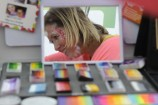 Kate does some face painting at the grand opening at Stroud Homes in Berwick. 146955 Picture: STEWART CHAMBERRS