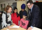 Member for Narre Warren South Judith Couacaud Graley with students from the Victorian School of Languages in Hampton Park and Premier Daniel Andrews.