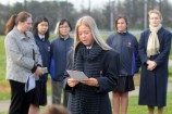 MC Mikayla welcomes students and teachers to the Long Tan commemoration. 157527 Pictures: STEWART CHAMBERS