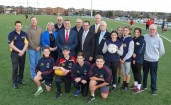 Casey mayor Sam Aziz and Sports Minister John Eren were joined by councillors Geoff Ablett, Amanda Stapledon and Mick Morland, South Eastern Metropolitan Region MP Gordon Rich-Phillips and members of local sporting clubs to celebrate the official opening of Carlisle Park Recreation Reserve.