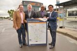 Casey Mayor Sam Aziz, Parliamentary Secretary for infrastructure Shaun Leane, Member of Cranbourne Jude Perera and Greater Dandenong Mayor Heang Tak reveal the new bus routes for Cranbourne and Dandenong.  160020 Picture: VICTORIA STONE-MEADOWS
