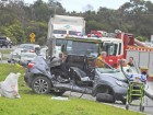 A woman in her twenties was air-lifted from the scene of the crash, which occurred  shortly after noon on Thursday 1 September. 158777 Picture: GARY SISSONS